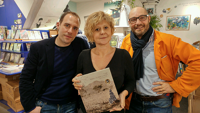de gauche à droite : Adrian Claret, FLORE et Carl Huguenin d'Artazart